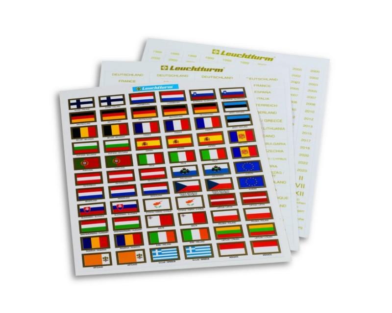 Leuchtturm Etiketten für Euro-Münzen